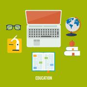 books and laptop - stock illustration