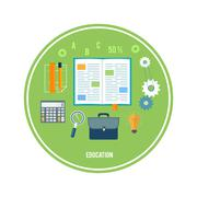 books and school elements - stock illustration
