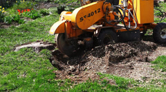 A powerful machine is used to remove a stump Stock Footage