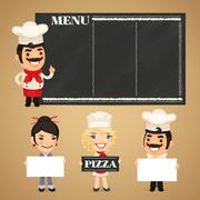 Chefs Presenting Empty Banners - stock illustration