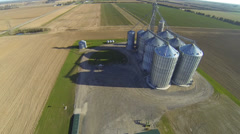 An aerial view of a grain elevator - stock footage