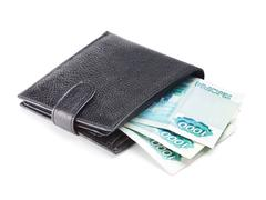 Leather wallet with cash Stock Photos