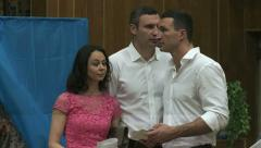 Brothers Klitschko during the elections of the President of Ukraine. Stock Footage
