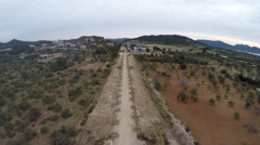 New Street Construction with Seaview - Aerial Flight, Mallorca Stock Footage