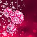 Christmas balls over orange bokeh. EPS 8 Stock Illustration
