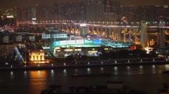 Timelapse of Nanpu brideg and Huangfu river at night, Shanghai, China. Stock Footage