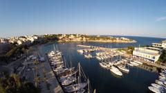 Harbor of Portocristo at Sunset - Aerial Flight, Mallorca Stock Footage