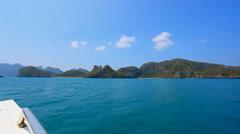 Sailing speedboat to the islands in ocean Stock Footage