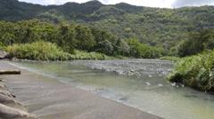 Bridge dam  in tropical island - small river - 2 Stock Footage
