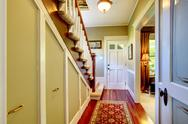 Stock Photo of home classsic decor hallway with entrance front door.