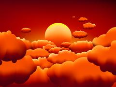 Golden sunset clouds background. EPS8 - stock illustration