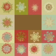Retro snowflakes background template. EPS 8 - stock illustration