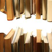 Book piles isolated on white Stock Photos