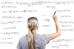 Woman writing mathematical equations - stock illustration