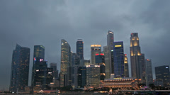 Singapore Skyline in the Evening Stock Footage