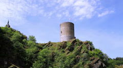 Esch-sur-Sûre Castle, now a ruin in the north-west of Luxembourg. Stock Footage
