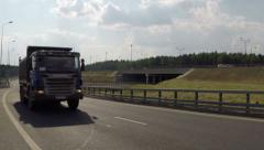 Truck goes to the highway - stock footage