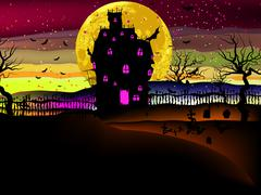 Grungy Halloween with haunted house. EPS 8 Piirros