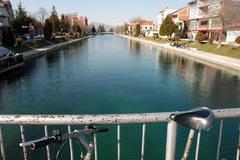 River drim, lake ohrid,struga macedonia Stock Photos
