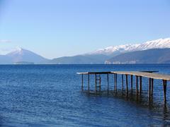lake prespa,macedonia - stock photo