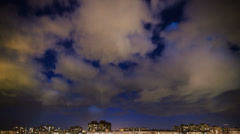 Clouds over the night city. Saint Petersburg, Russia. Stock Footage