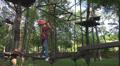 Child Climbing in Forest Sliding Down, Adventure Park, Children, Extreme Sport Footage
