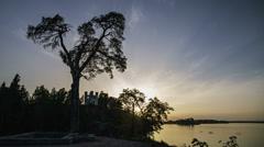 Sunset at Mon Repos (Monrepos) park. Vyborg, Russia. Stock Footage