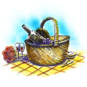 Picnic basket with wine and glasses - stock illustration