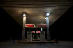 Petrol station in the sahara at night Kuvituskuvat