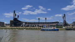 4K Gateway Clipper Ship and PNC Park 4393 Stock Footage