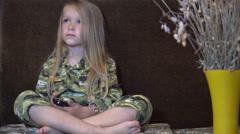 Ultra HD 4K Child Watching TV, Sleepy Little Girl Lying on Bed, Coach, Children Stock Footage