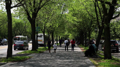 Woman and Young Boy Walk Along Eastern Parkway Stock Footage