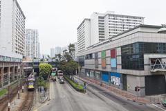 Hong Kong downtown apartments and traffic Stock Photos