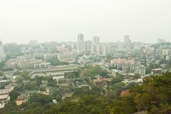 Aerial view of Xiamen city downtown, China. - stock photo