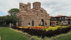 Bulgaria Nessebar Christ Pantocrator Church flowers Stock Footage
