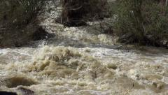 Ultra HD 4K Muddy River in Flood, Flooding by Rain, Storm, Flooded, Calamity Stock Footage