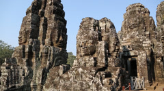 People at Bayon - Khmer temple complex at Angkor Thom, Siem Reap, Cambodia Stock Footage