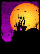 Haunted House on a Graveyard hill. EPS 8 Stock Illustration