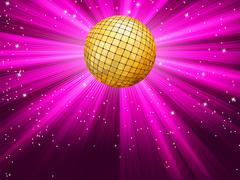Party lights and gplden disco ball. EPS 8 - stock illustration