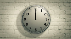 Clock on the wall counting down 6 hour in reverse. Time lapse. Stock Footage