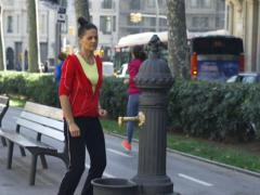 Woman stretching in park, slow motion shot at 240fps, steadycam shot Stock Footage
