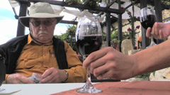Bulgaria Man with wine model released Stock Footage