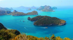 View from Mountain on Angtong marine park of the islands and sailing ship Stock Footage