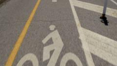 4K Bike Lane Marker POV 4403 Stock Footage