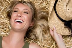 Laughing country girl Stock Photos