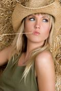 straw hat woman - stock photo