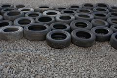auto tire composition - stock photo