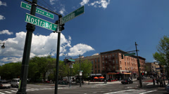 Nostrand Avenue and Eastern Parkway Sign in Crown Heights Stock Footage