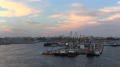 Romania Constanta harbor in late evening cx Stock Footage