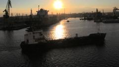 Romania Constanta ship and sun backlit cx Stock Footage